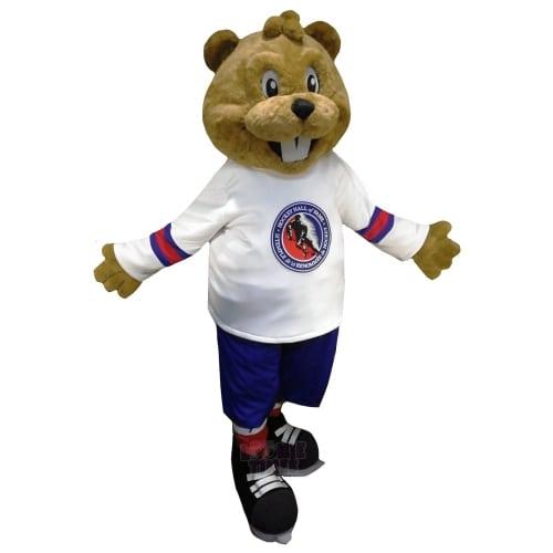 Hockey Hall of Fame Beaver Mascot With Logo